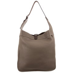 Hermes Taupe Leather Palladium Large Carryall Travel Tote Hobo Shoulder Bag