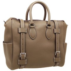 Hermes Taupe Leather Palladium Weekend Carryall Men's Travel Top Handle Tote Bag