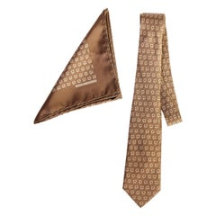 Hermes Taupe Silk Tie And Pocket Square