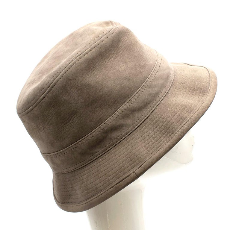 Brown Hermes Taupe Suede Lambskin Bucket Hat For Sale