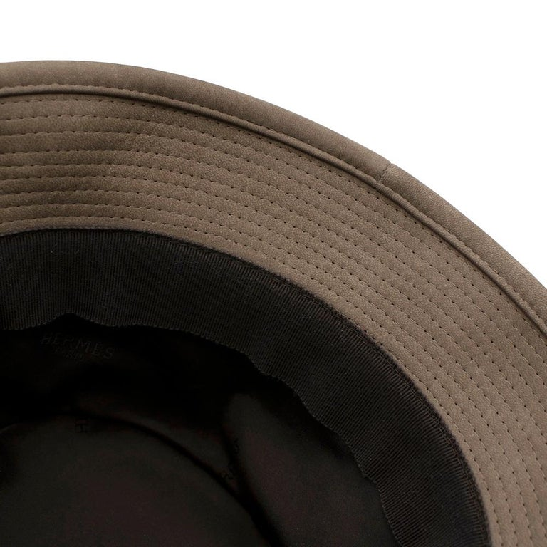 Women's or Men's Hermes Taupe Suede Lambskin Bucket Hat For Sale