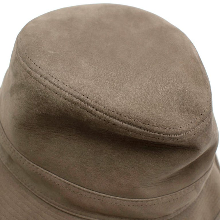 Hermes Taupe Suede Lambskin Bucket Hat For Sale 1