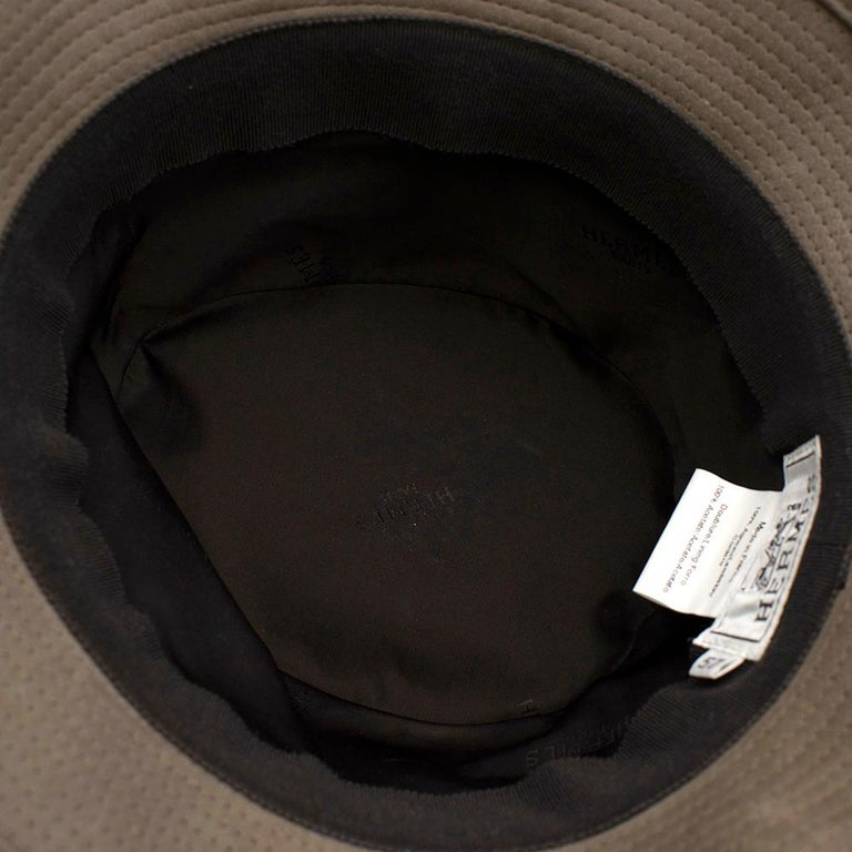 Hermes Taupe Suede Lambskin Bucket Hat For Sale 2