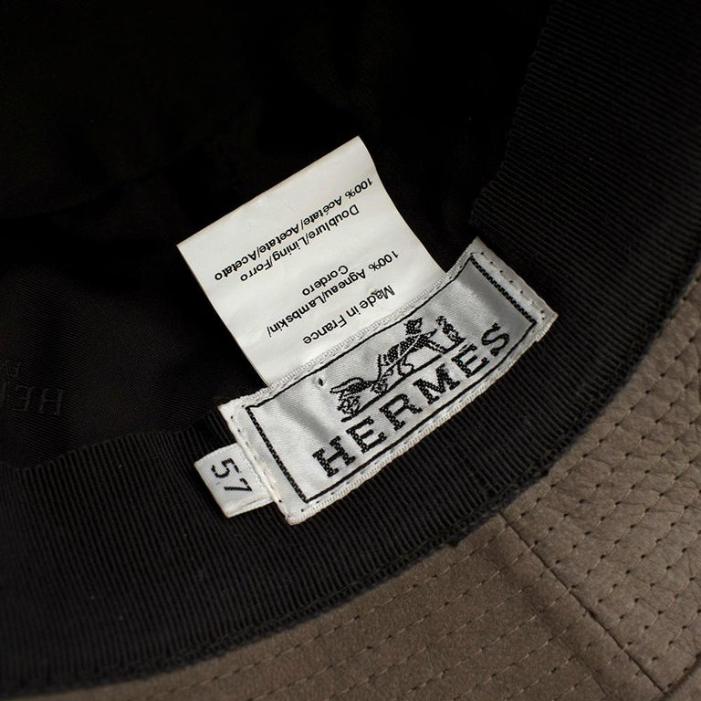 Hermes Taupe Suede Lambskin Bucket Hat For Sale 3