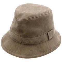 Hermes Taupe Suede Lambskin Bucket Hat