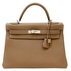 Hermès Taupe Togo Leather 32 cm Kelly Bag with Palladium