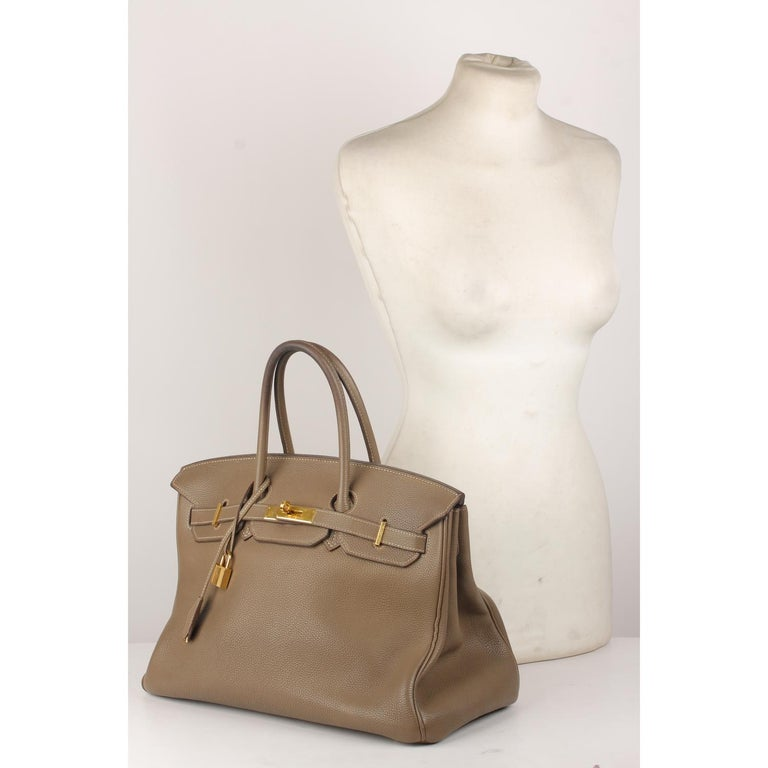78fb6926fa04 Hermes Taupe Togo Leather Birkin 35 Top Handle Bag Satchel For Sale ...