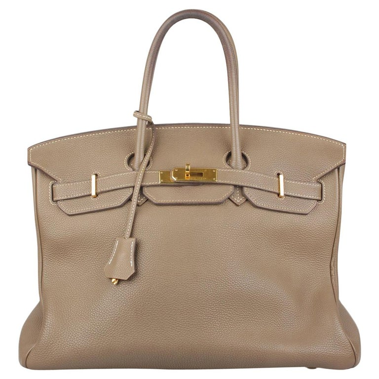 c16d3d5ac16 Hermes Taupe Togo Leather Birkin 35 Top Handle Bag Satchel For Sale ...