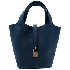 Hermes Taurillon Maurice Deep Blue Picotin Lock 18 PHW