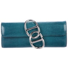 Hermes Teal Blue Crocodile Exotic Leather Palladium Clutch Flap Bag in Box