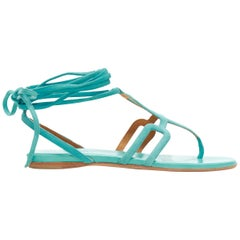 HERMES teal blue suede geometric buckle ankle wrap thong flat sandals EU35.5