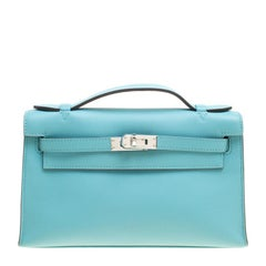 Hermes Teal Blue Swift Leather Palladium Hardware Kelly Pochette