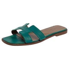 Hermes Teal Green Leather Oran Flat Slides Size 38.5
