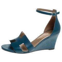 Hermes Teal Leather Legend Wedge Ankle Strap Sandals Size 40