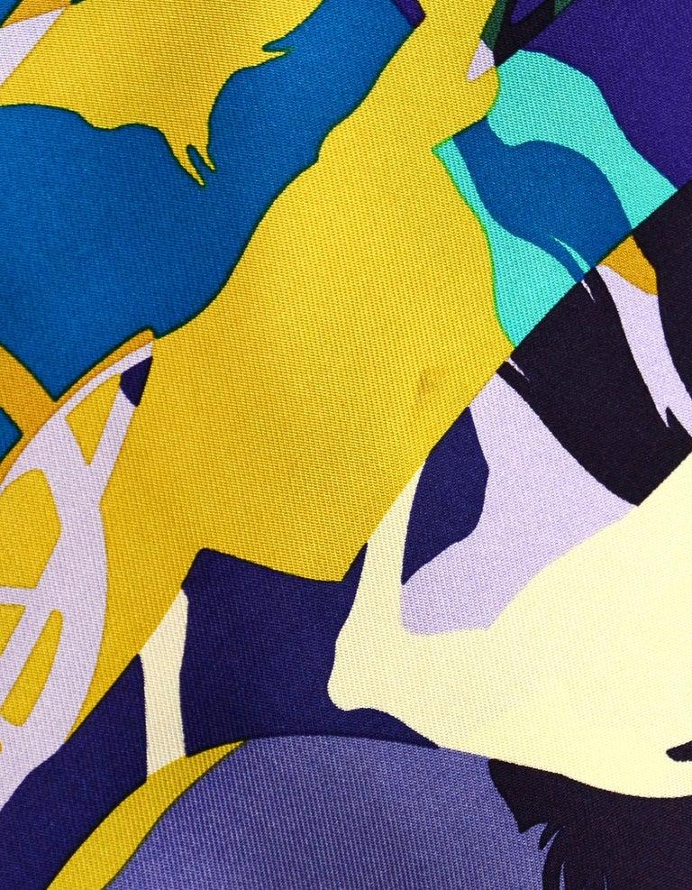 Women's Hermes Teal/ Multi-color Ex Libris En Camouflage 90cm Silk Scarf For Sale