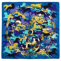 Hermes Teal/ Multi-color Ex Libris En Camouflage 90cm Silk Scarf