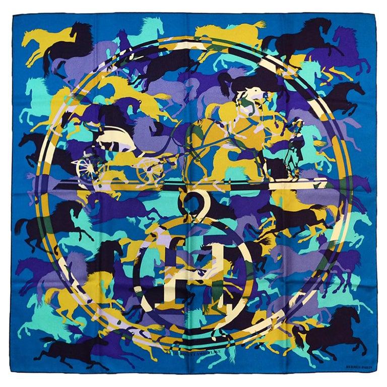 Hermes Teal/ Multi-color Ex Libris En Camouflage 90cm Silk Scarf For Sale