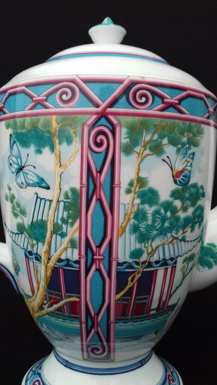 Hermès Teapot Tea Pot Porcelain Jardin des Papillons Butterflies Garden Rare For Sale 5