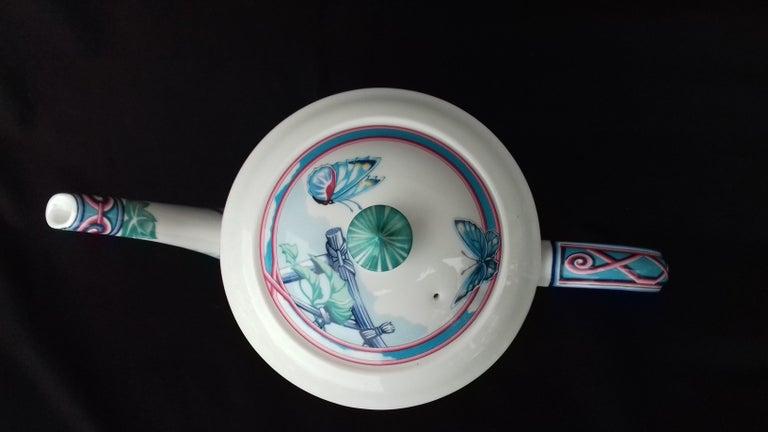 Hermès Teapot Tea Pot Porcelain Jardin des Papillons Butterflies Garden Rare For Sale 8