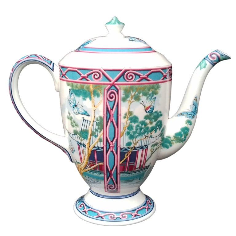 Hermès Teapot Tea Pot Porcelain Jardin des Papillons Butterflies Garden Rare For Sale