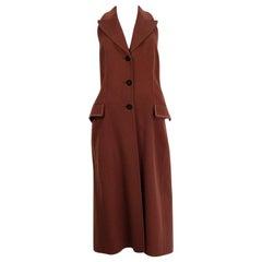 HERMES terra cotta brown cashmere LONG VEST Jacket 38 S