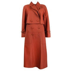 HERMES terra cotta orange leather DOUBLE BREASTED TRENCH Coat Jacket 38 XS