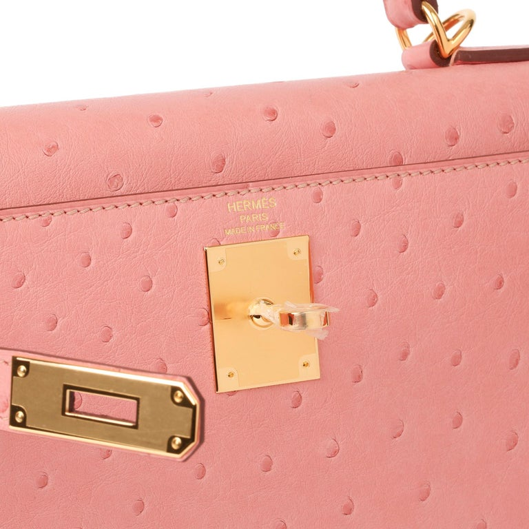Pink Hermès Terre Cuite Ostrich Leather Kelly 28cm Sellier For Sale