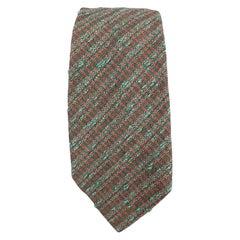 HERMES Textured Olive Silk / Wool Tie
