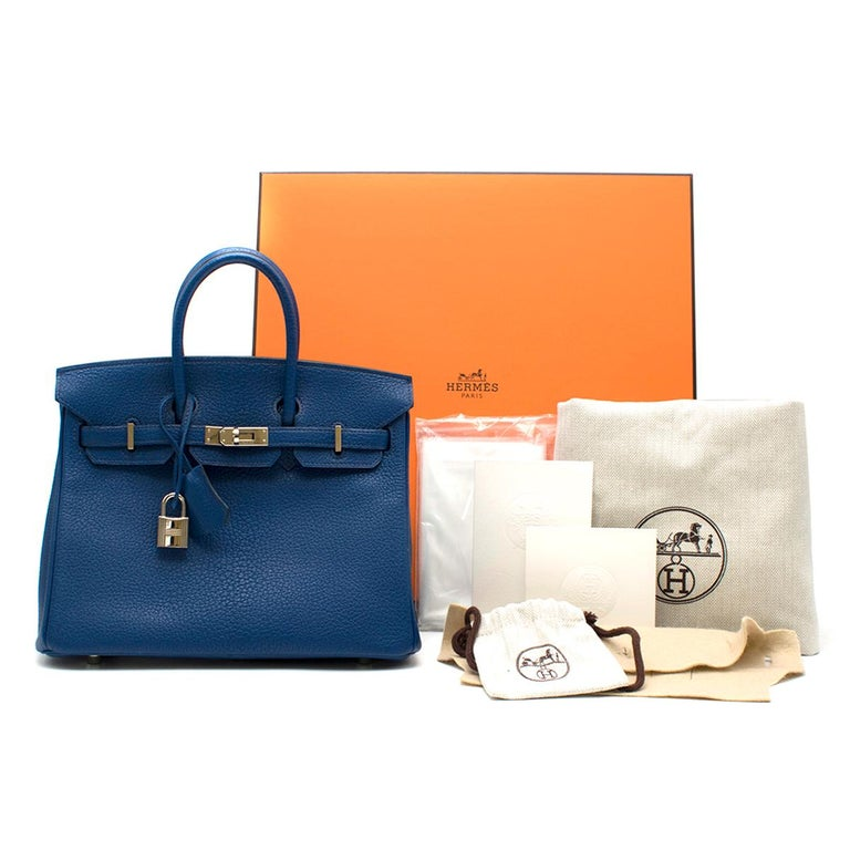 Hermes Thalassa Togo Leather 25cm Birkin Bag  - Serial Number: T - Age (Circa): 2015 - Thalassa: Mediterranean Sea Blue, deeper than Blue Jean - Togo leather  - Two rolled leather top handles - Black lacquered edges, signature palladium plated