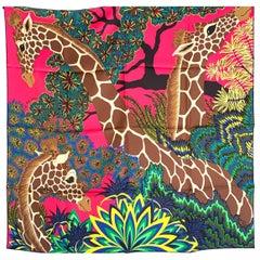Hermes The Three Graces Giraffes Silk Scarf au Carre 90