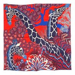 Hermes The Three Graces Giraffes Silk Scarf au Carre 90 Red