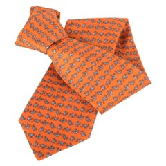 Hermes Tie Cabrioles Rabbit Orange Vif / Gris New w/ Box
