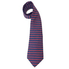 HERMES Tie in Blue and Red Silk