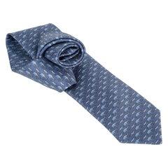 Hermes Tie Sauve Qui Peut ! Twillbi Blue Jean Blue Moyen New w/ Box