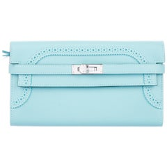 Hermes Tiffany Blue Light Leather Palladium Kelly Evening Clutch Wallet in Box