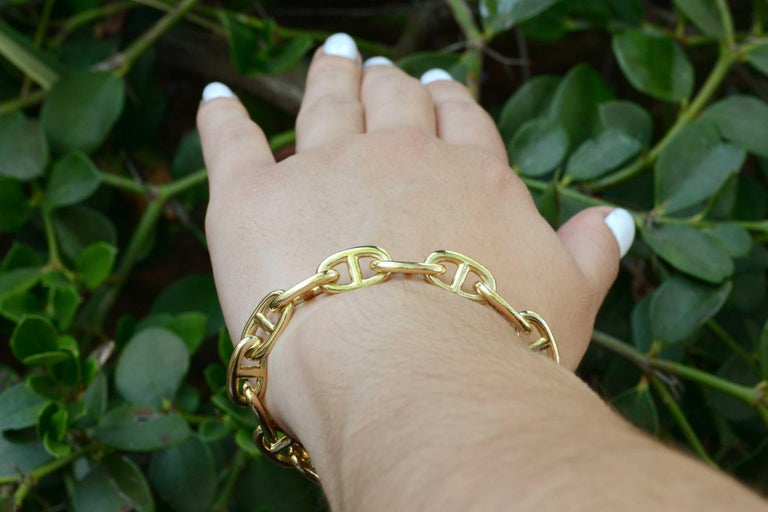 Hermes Toggle Bracelet Mariner Anchor Chaine d'Ancre Vendôme French 18K Gold In Good Condition For Sale In Santa Barbara, CA