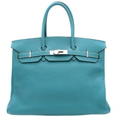 Hermes Togo Leather Blue Jean 35cm Birkin