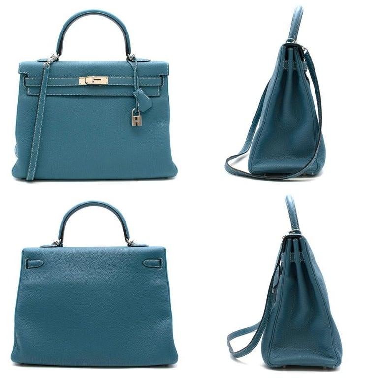 Orange Hermes Togo Leather Blue Jean Kelly 35 PHW For Sale
