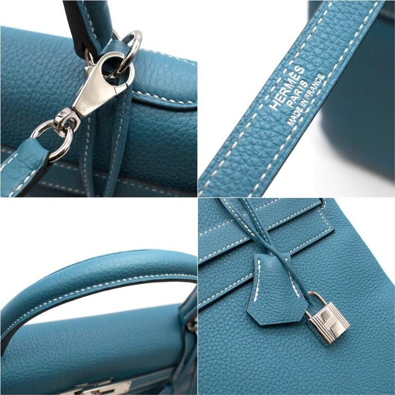 Women's Hermes Togo Leather Blue Jean Kelly 35 PHW For Sale