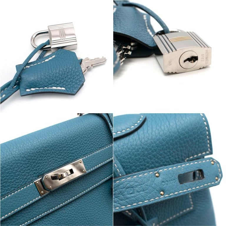 Hermes Togo Leather Blue Jean Kelly 35 PHW For Sale 1