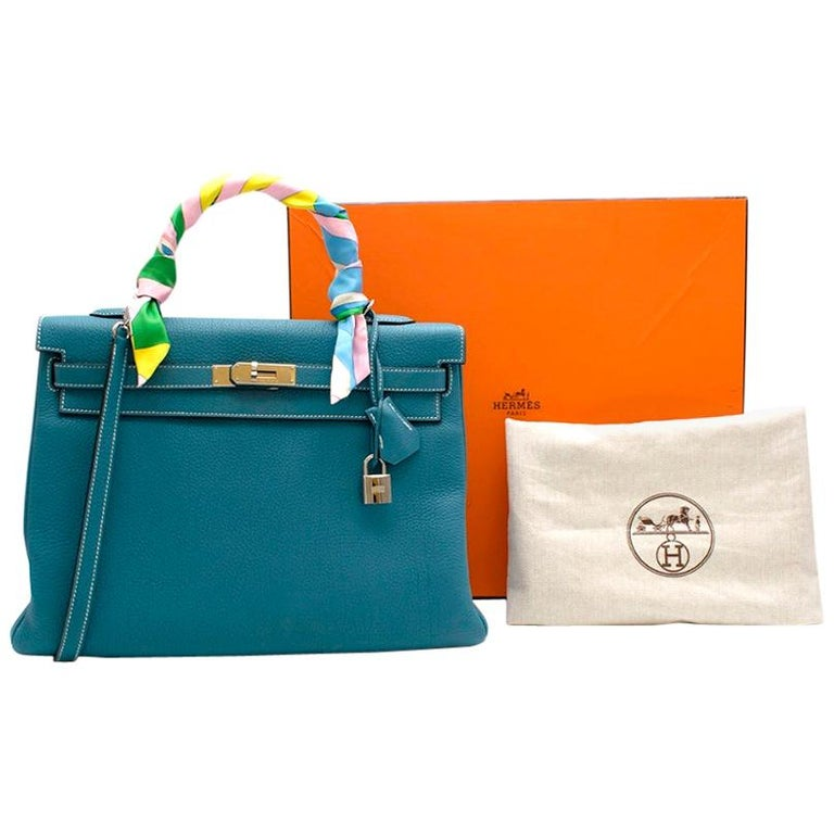 Hermes Togo Leather Blue Jean Kelly 35 PHW For Sale