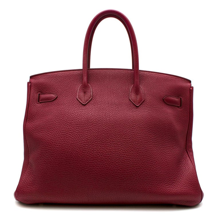Hermes Togo Leather Rubis Birkin 35 PHW  In Excellent Condition For Sale In London, GB