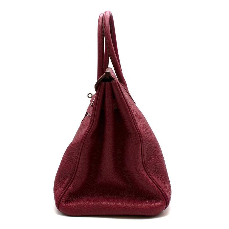 Women's Hermes Togo Leather Rubis Birkin 35 PHW  For Sale