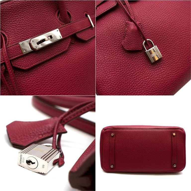 Hermes Togo Leather Rubis Birkin 35 PHW  For Sale 1