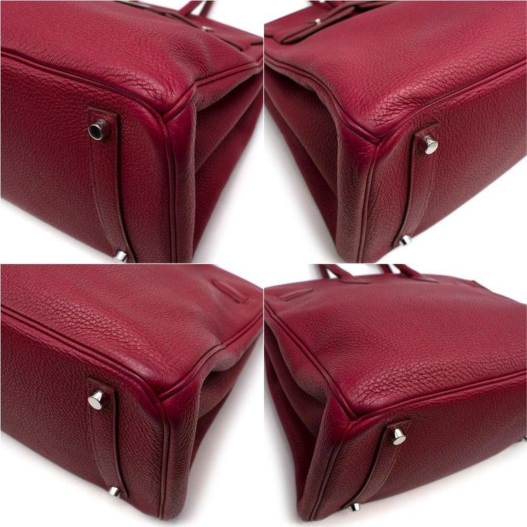 Hermes Togo Leather Rubis Birkin 35 PHW  For Sale 2