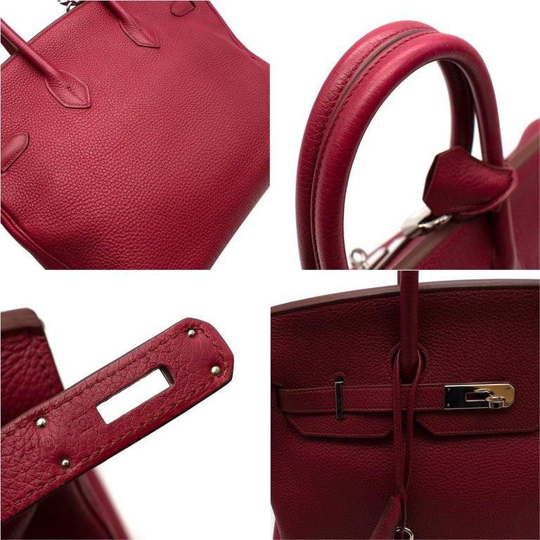Hermes Togo Leather Rubis Birkin 35 PHW  For Sale 3