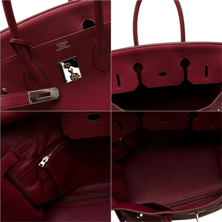 Hermes Togo Leather Rubis Birkin 35 PHW  For Sale 4