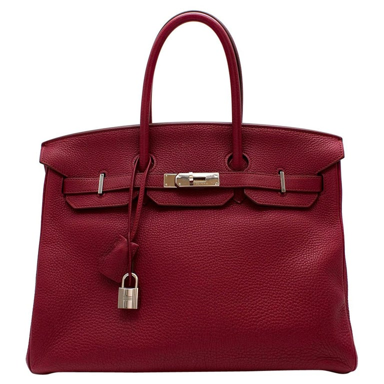 Hermes Togo Leather Rubis Birkin 35 PHW  For Sale