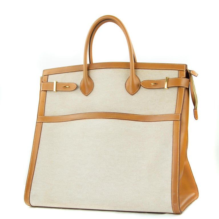 Beige Hermes Toile and Vache Natural Weekend Bag GHW For Sale