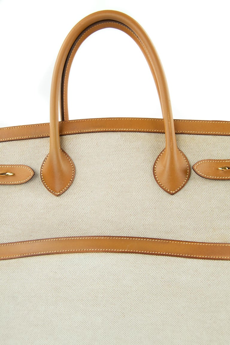 Hermes Toile and Vache Natural Weekend Bag GHW For Sale 1